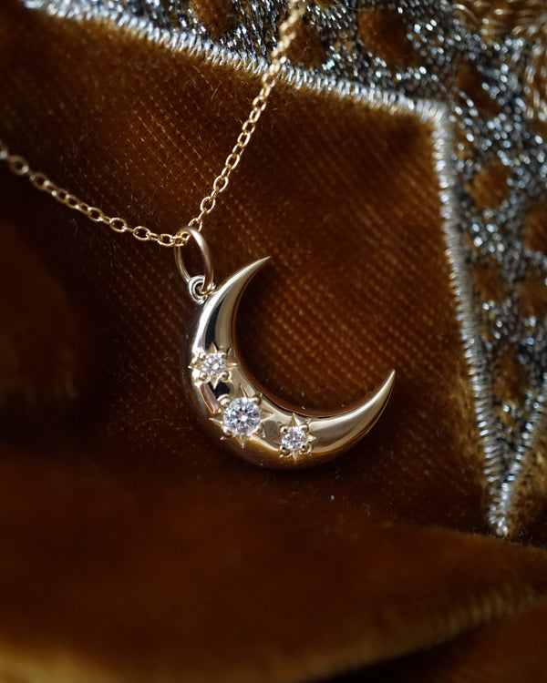 Crescent Starburst Large Moon Necklace
