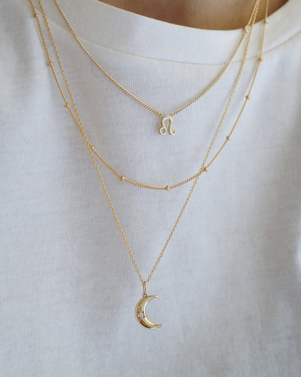 Crescent Starburst Small Moon Necklace