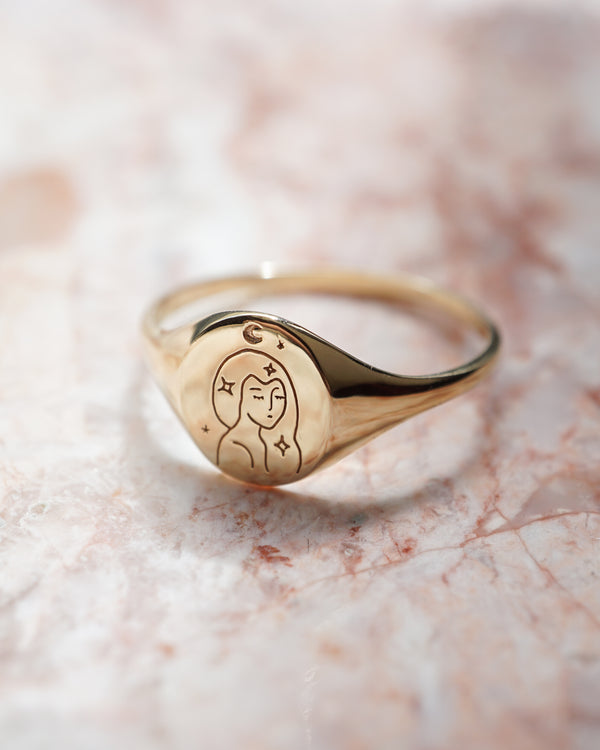 Signet Ring, 14K Signet Ring, Gold Signet Ring (4335589326927)