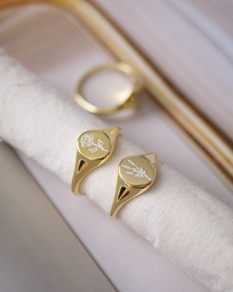 Rose Signet Ring, 14K Gold Plated