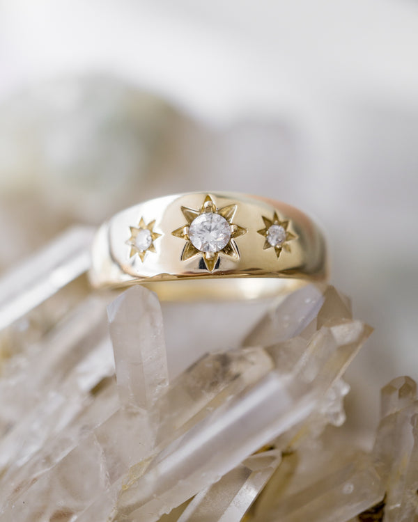 Starburst ring, gypsy ring, vintage gold ring
