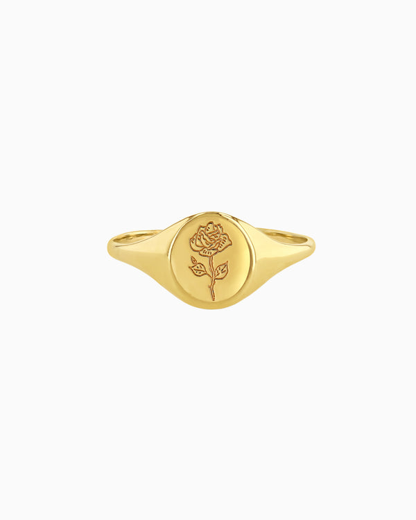 Signet Ring, 14K Signet Ring, Gold Signet Ring, Flower Ring (4331937857615)