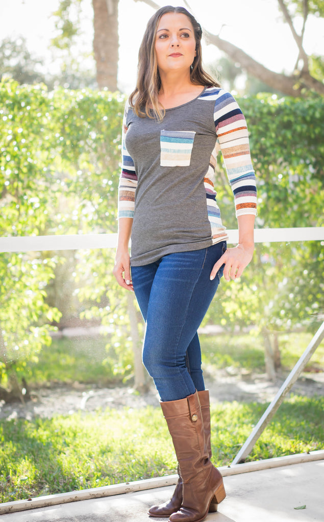 Charcoal Multi Stripe Top