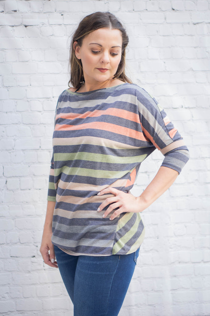 Multi Stripe Twist Back Top