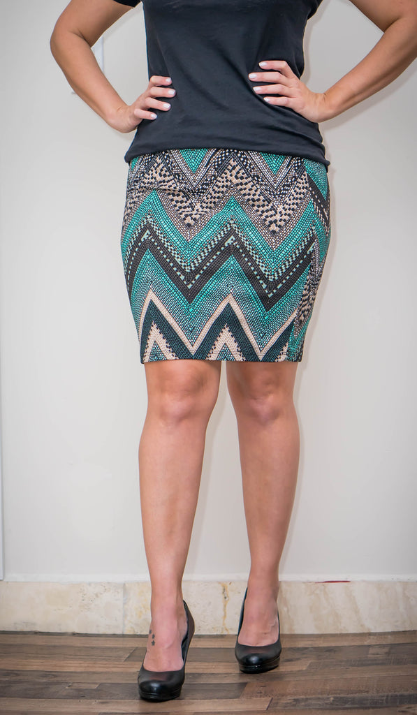 Green Chevron Pencil Skirt - the-a-to-z-boutique
