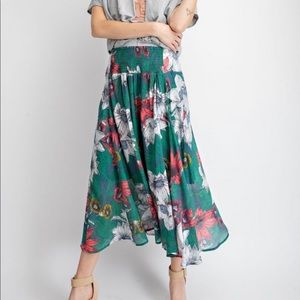 Green Floral Maxi Skirt - the-a-to-z-boutique