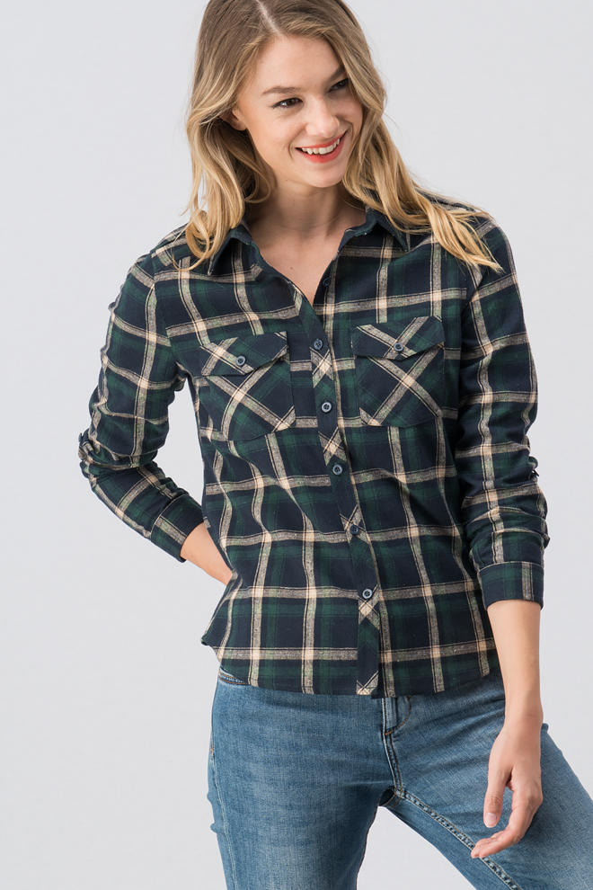 Green Plaid Top - the-a-to-z-boutique