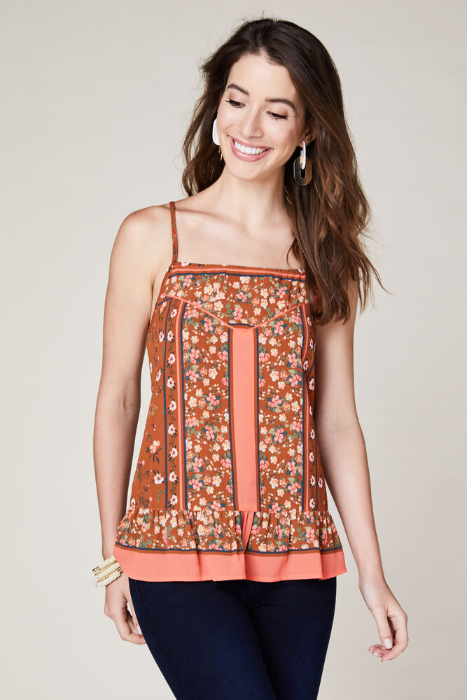 Orange Floral Ruffle Hem Top - the-a-to-z-boutique