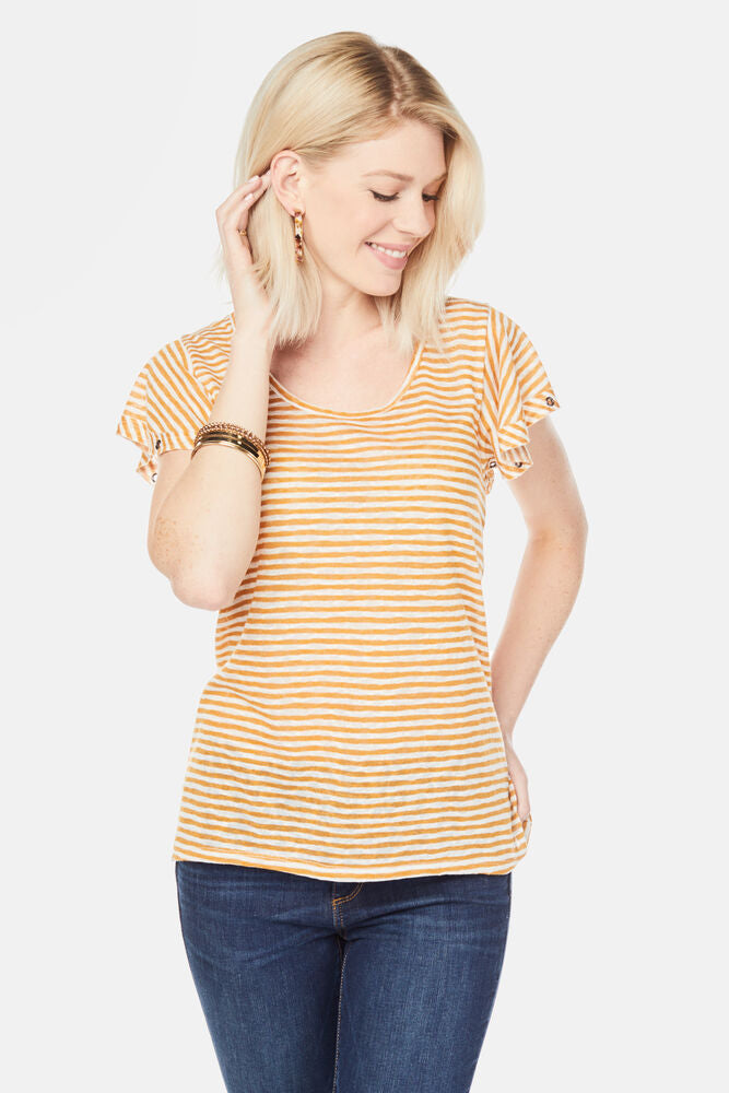 Mustard Striped Grommet Top - the-a-to-z-boutique