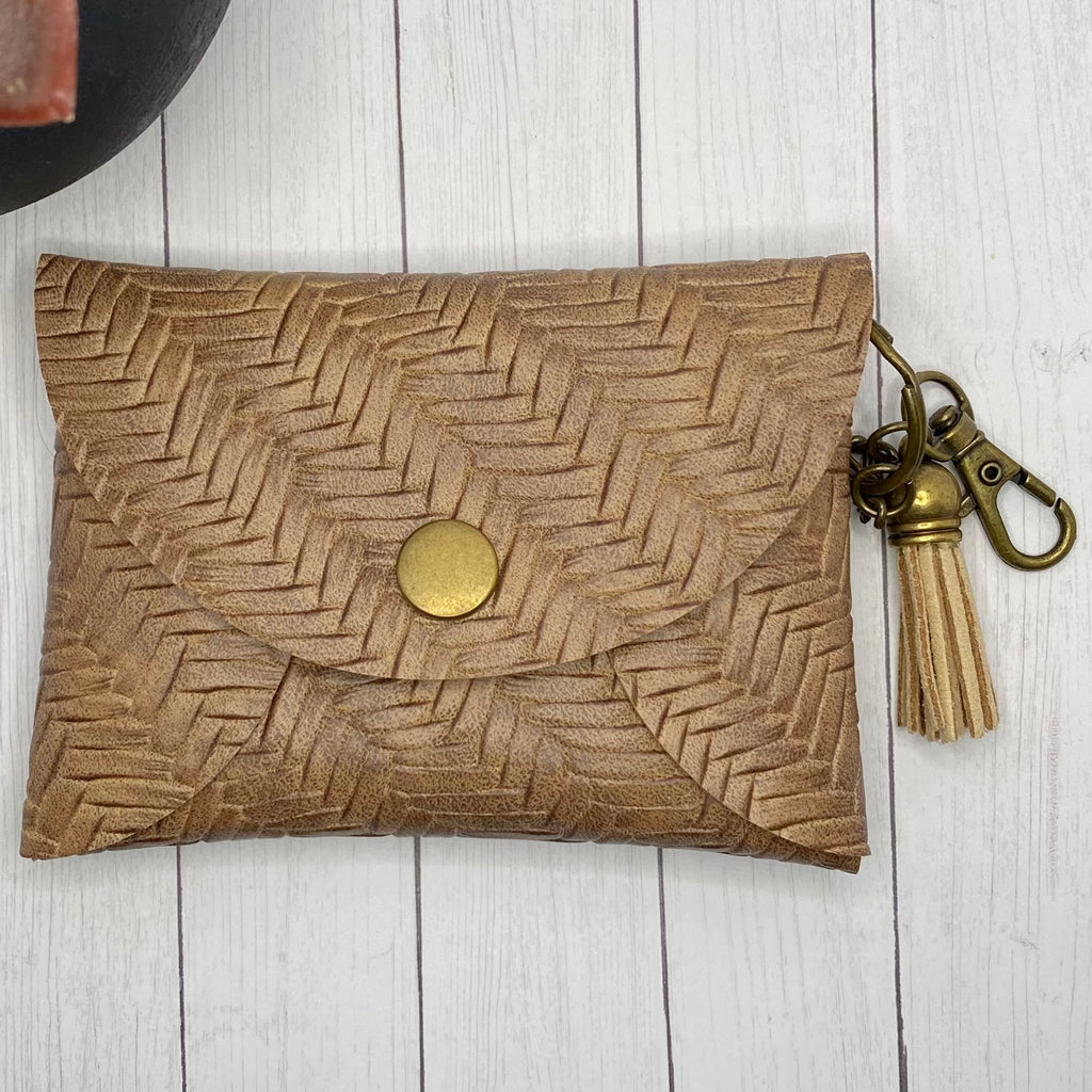 Brown Basketweave Faux Leather ID Wallet Mask Holder
