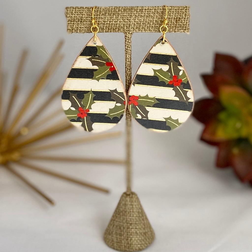 Striped Holly Wood Earrings