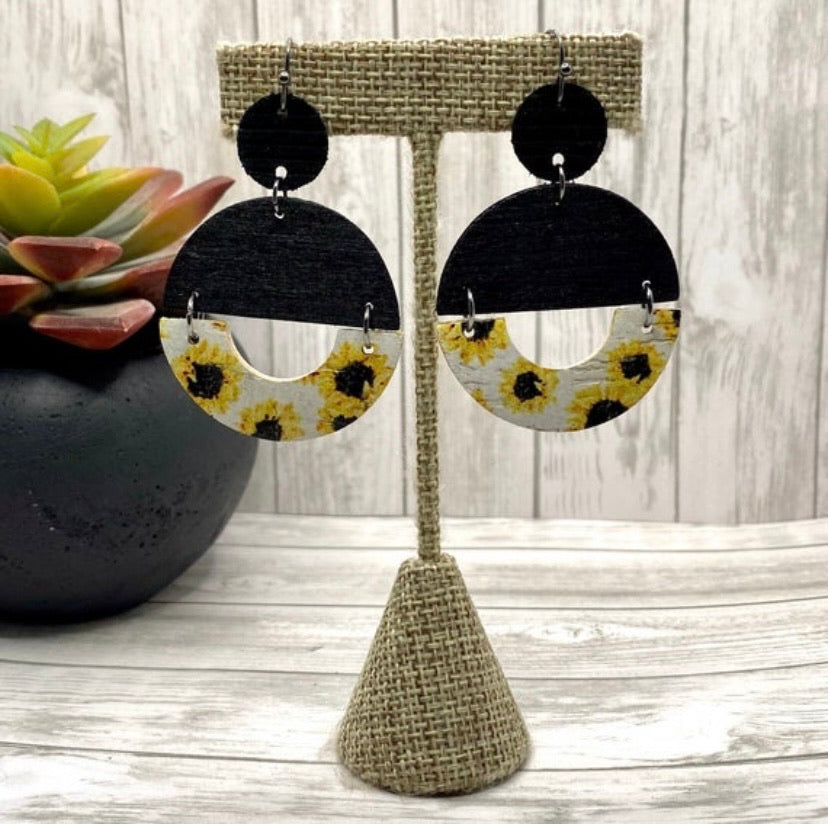 Black Wood and Sunflower Leather Double Circle Earrings