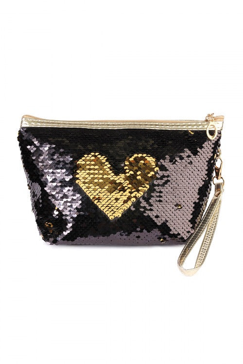 Black Gold Sequin Makeup Bag - the-a-to-z-boutique