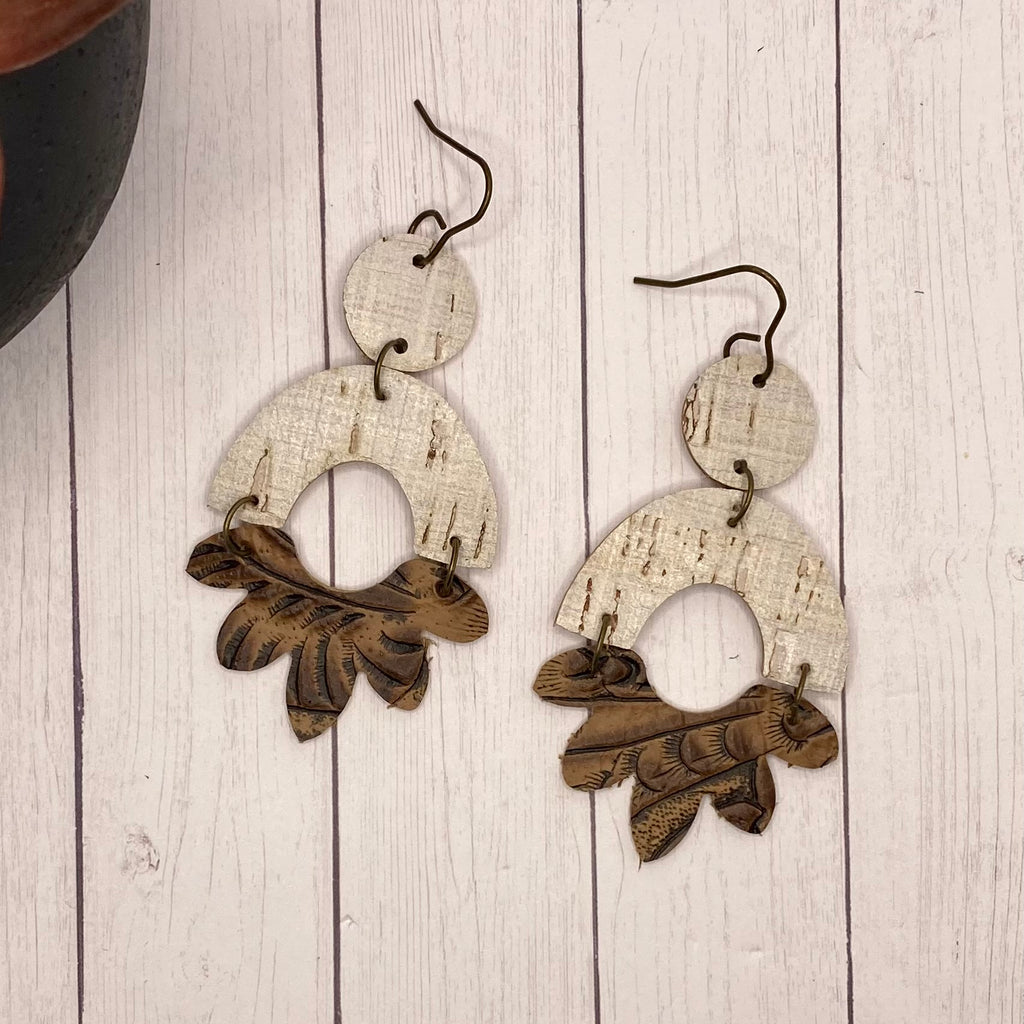 Brown and Tan Flower Arch Leather Earrings