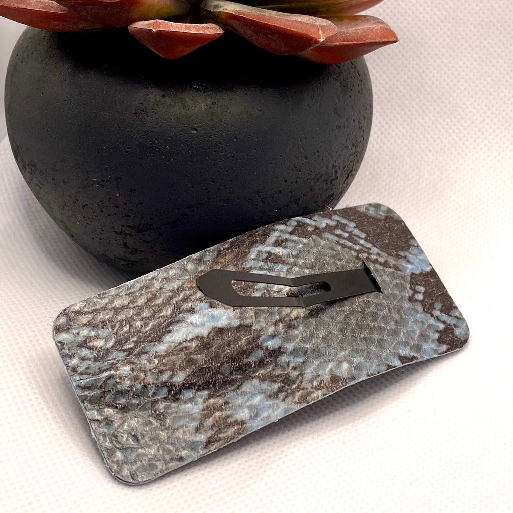 Blue and Gray Snake Skin Hair Clip