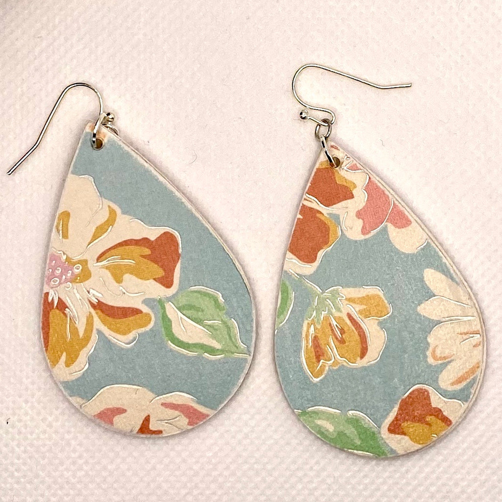 Blue Floral Wood Earrings