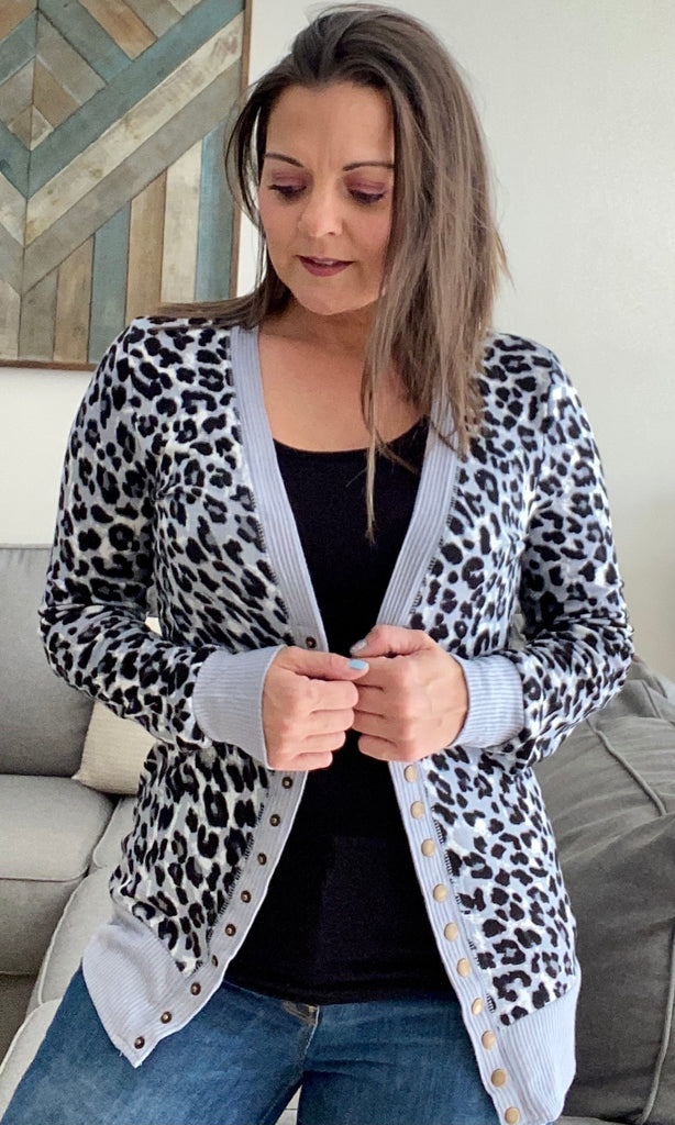 Gray and Black Animal Print Striped Snap Cardigan