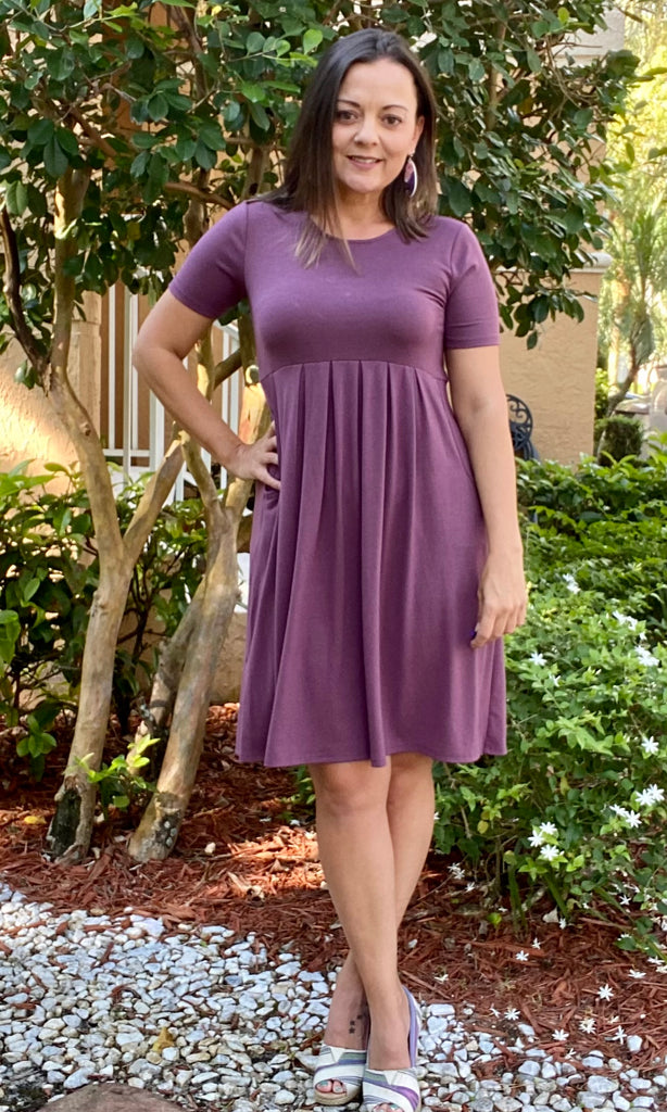 Purple Pleated Pocket Dress