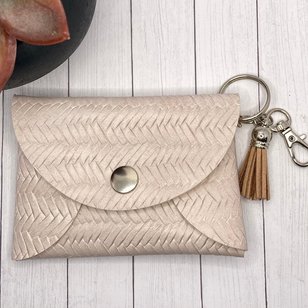 Cream Basketweave Faux Leather ID Wallet Mask Holder