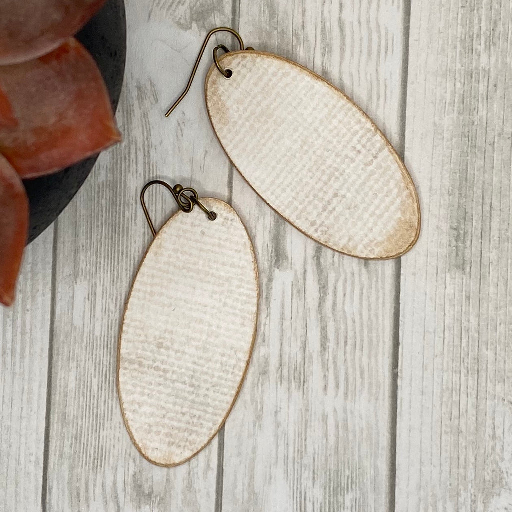 Ivory and Blue Wood Earrings