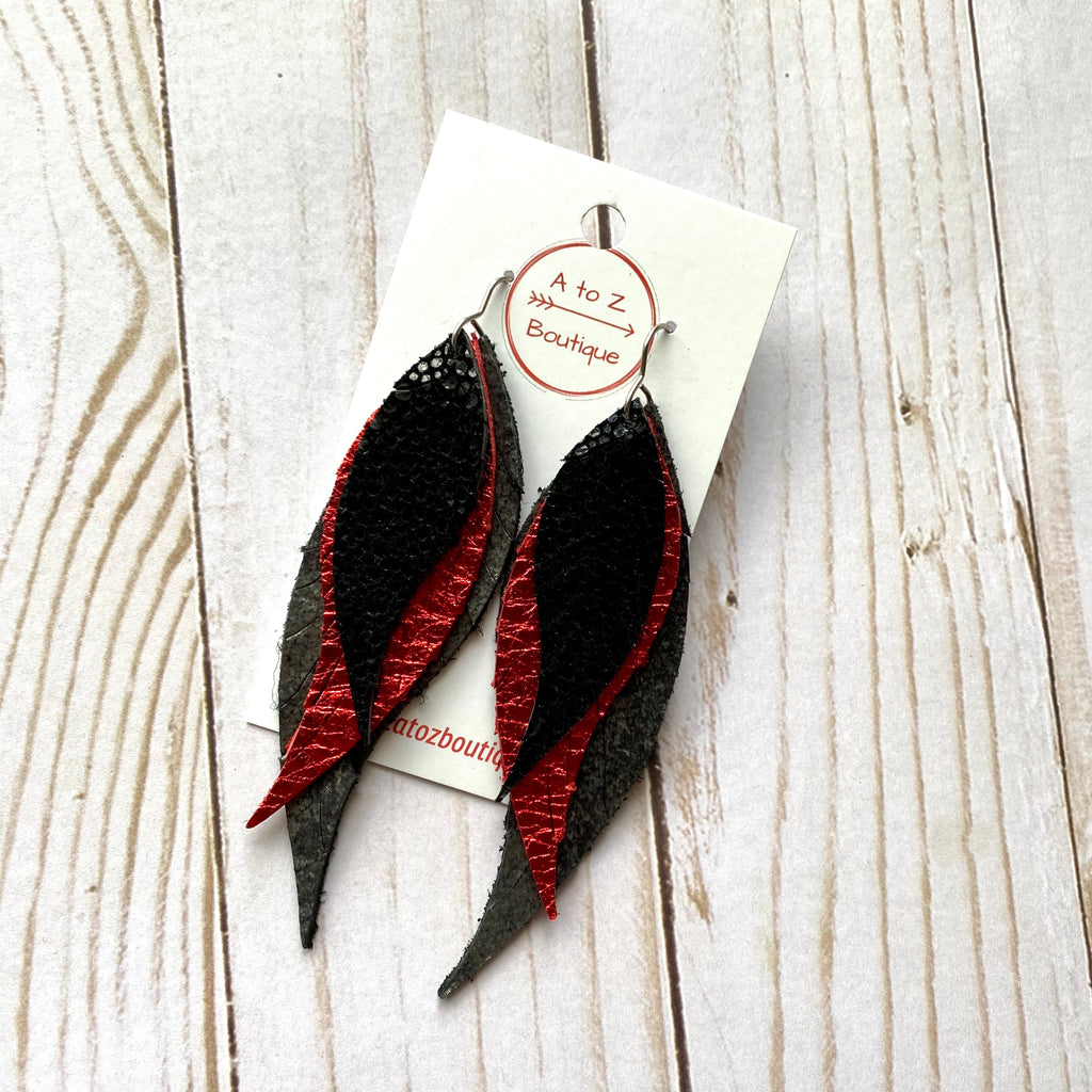 Black Red and Gray Leather Feather Earrings