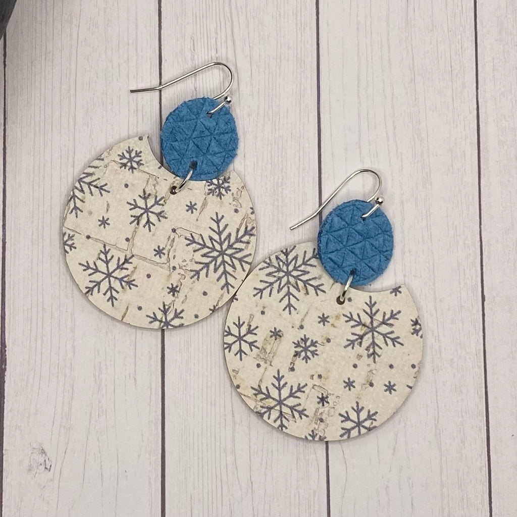 Blue and Ivory Snowflake Leather Earrings