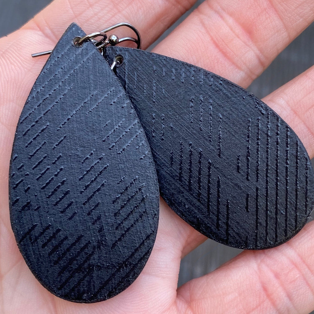 Black on black Wood Earrings