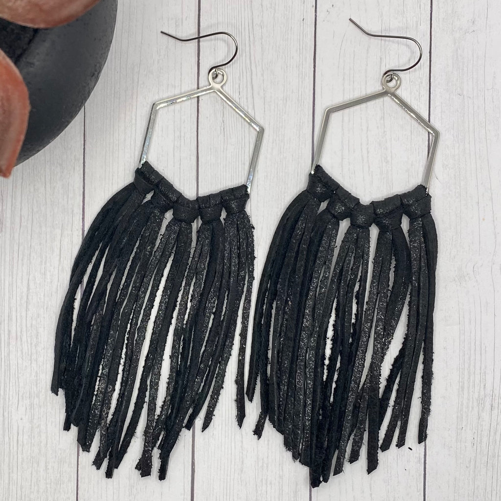 Black Leather Fringe Silver Hex Hoop Earrings