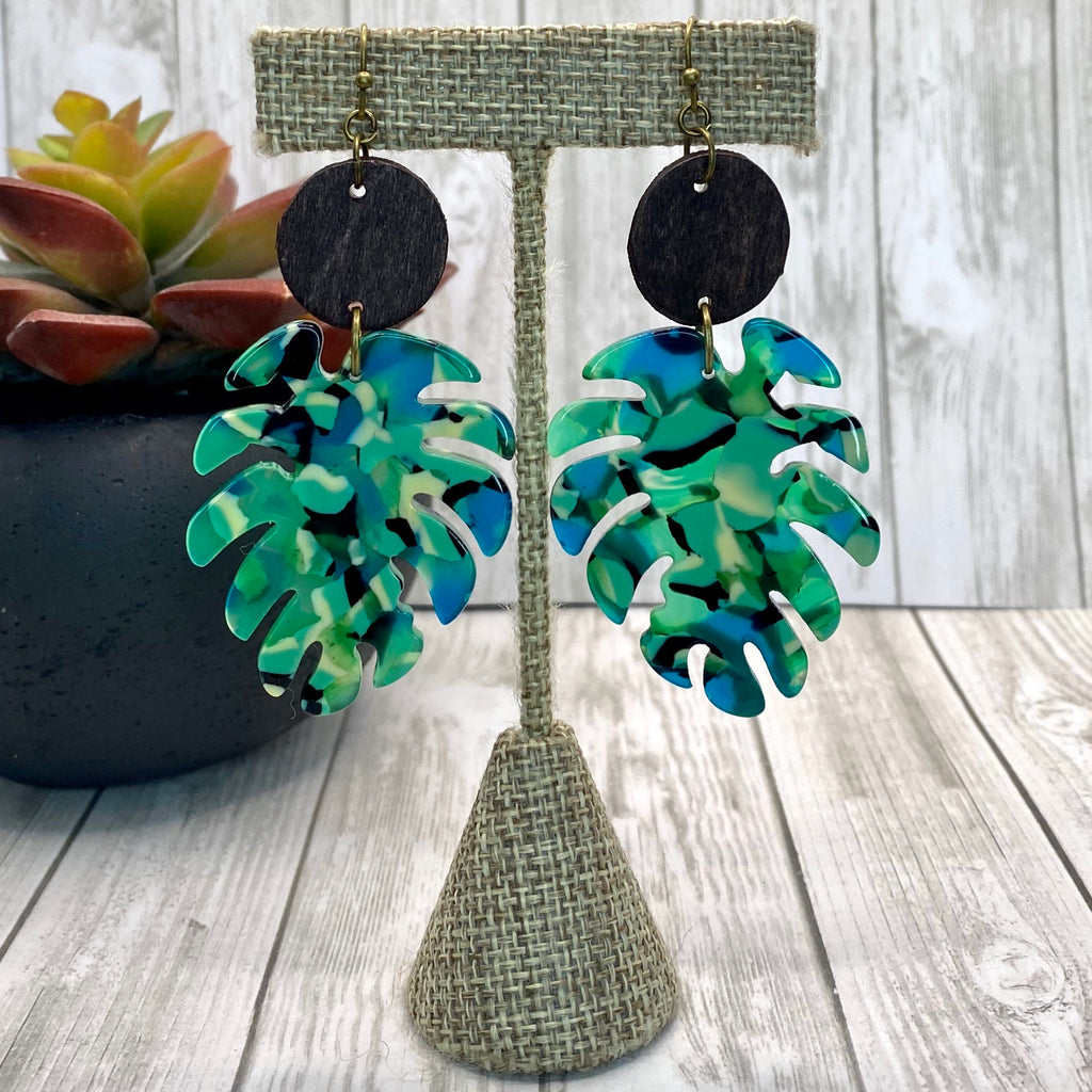 Wood and Acrylic Leaf Earrings