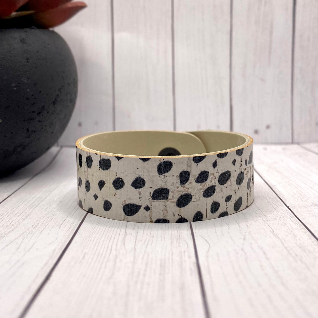 Leather and Cork Black and White Bracelet