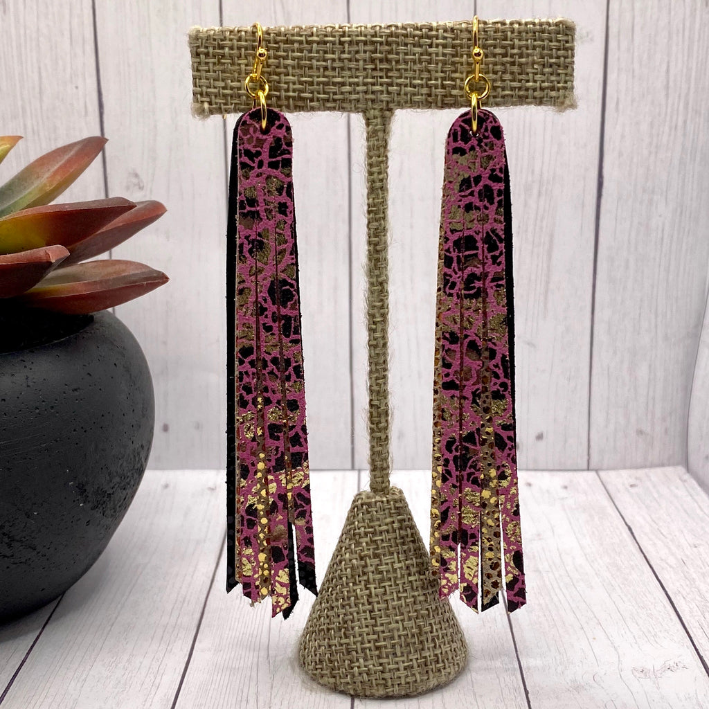 Genuine Leather Pink Leopard Fringe Earrings