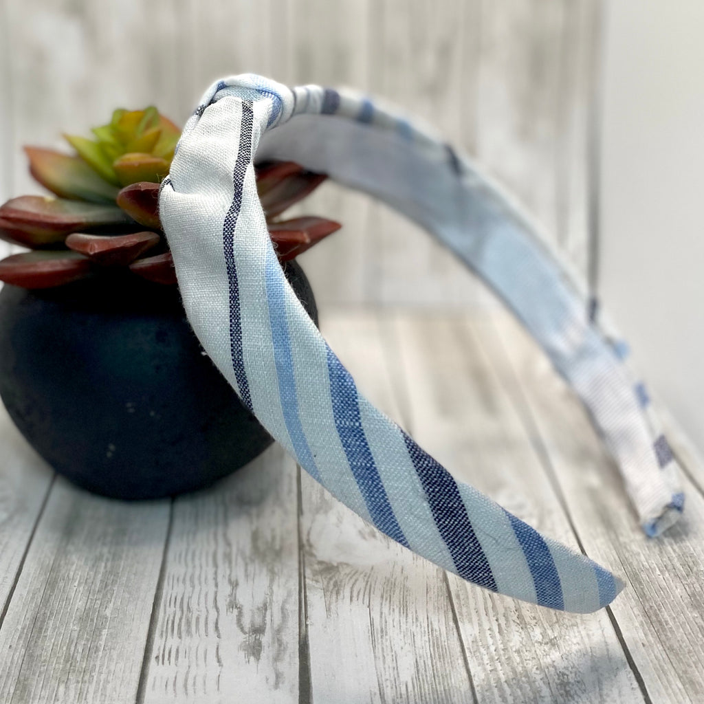Blue and White Linen Upcycled headband