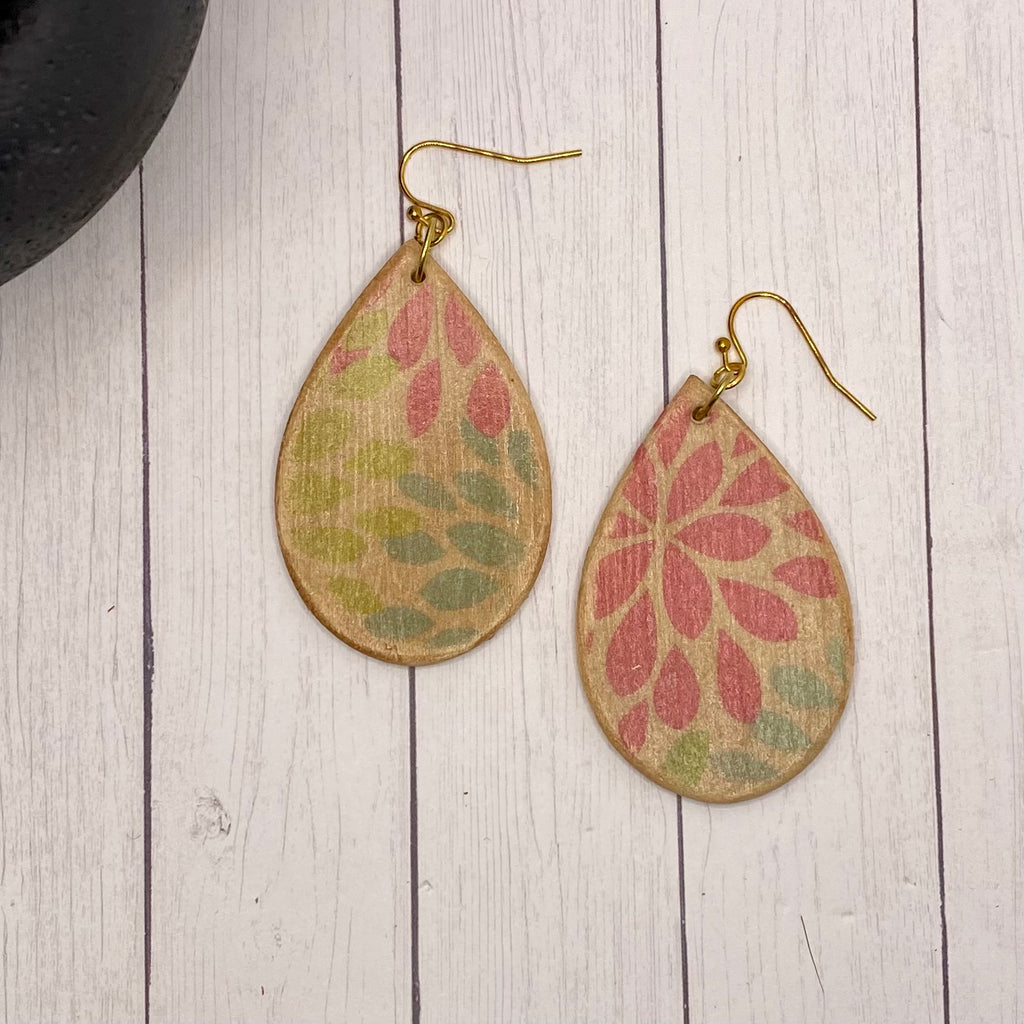Natural Wood Floral Wood Earrings