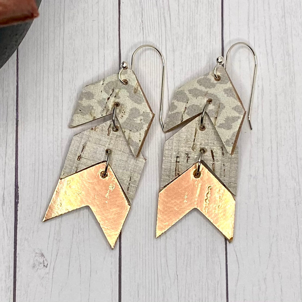 Leather Cork Rose Gold Cheetah Chevron Earrings