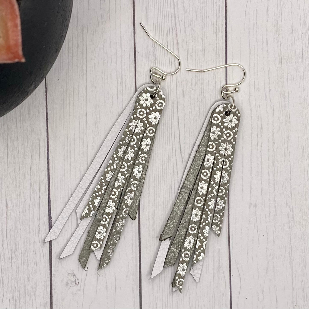 "2.75"" Genuine Leather White and Silver Fringe Earrings"