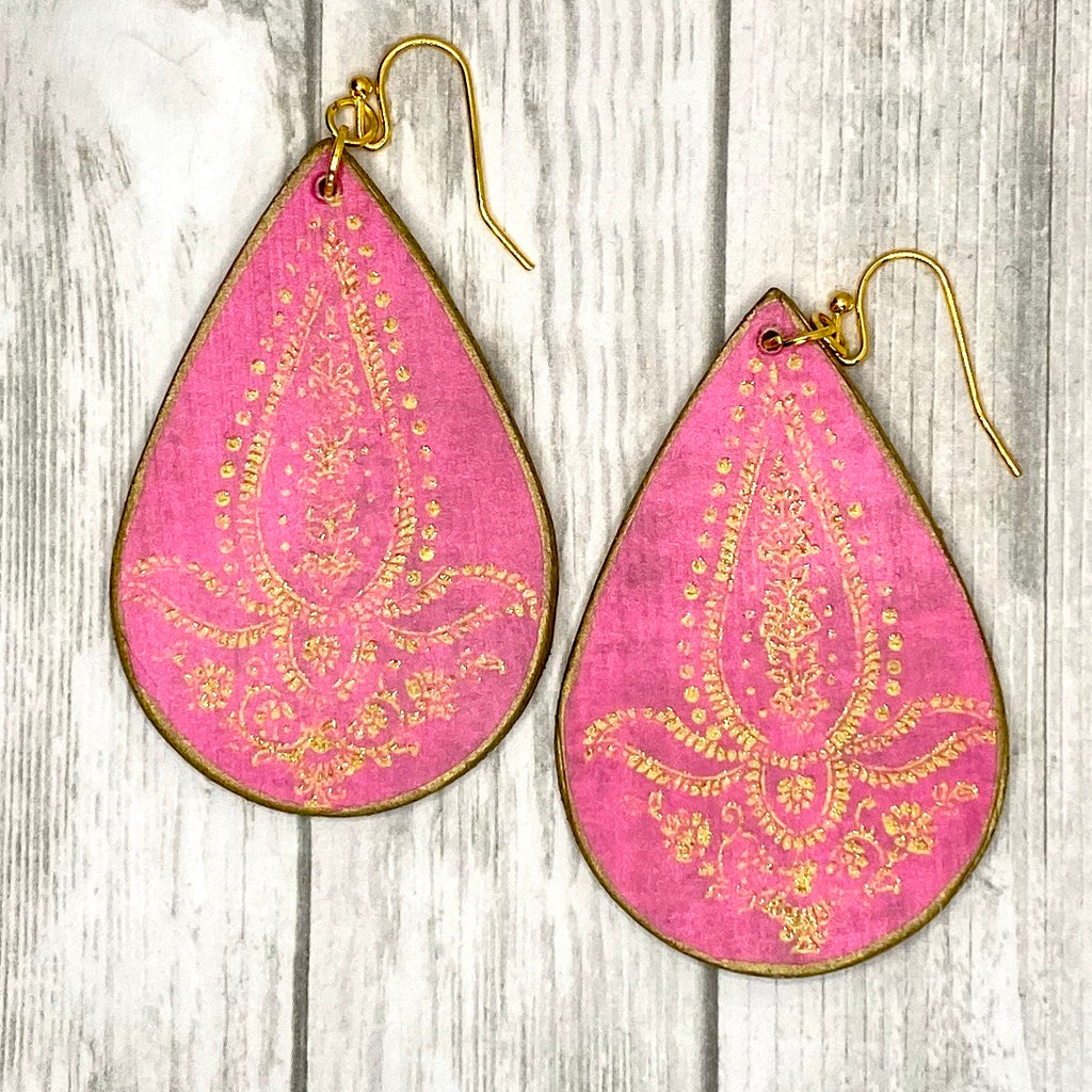 Pink and Gold  Wood Earrings