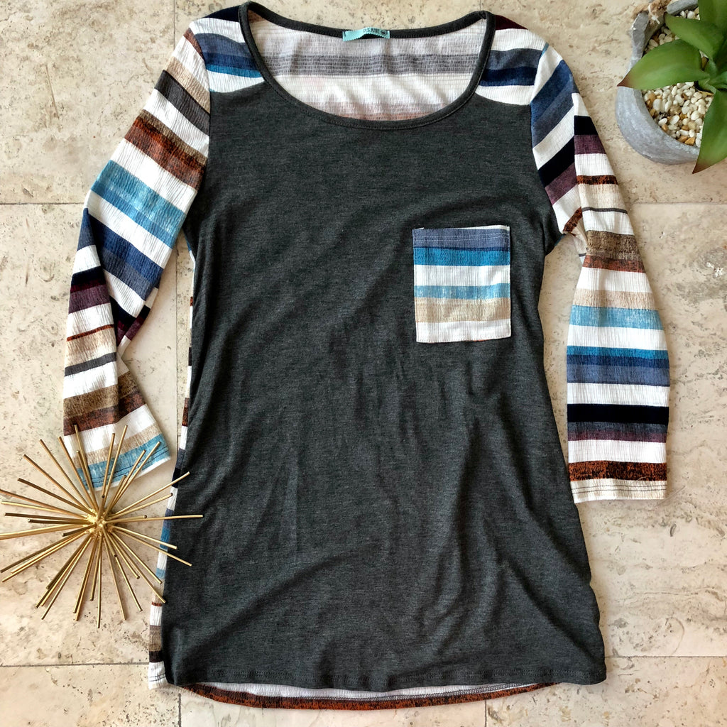 Charcoal Multi Stripe Top - the-a-to-z-boutique