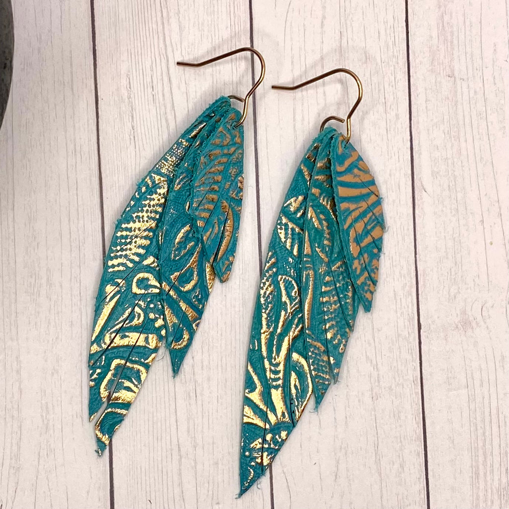 Turquoise and Rose Gold Wing Earrings