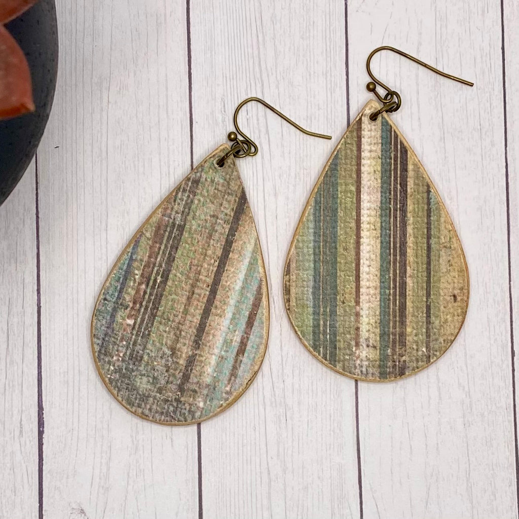 Blue and Green Distressed Striped Wood Earrings