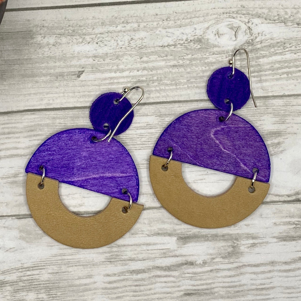 Purple Wood and Leather Double Circle Earrings