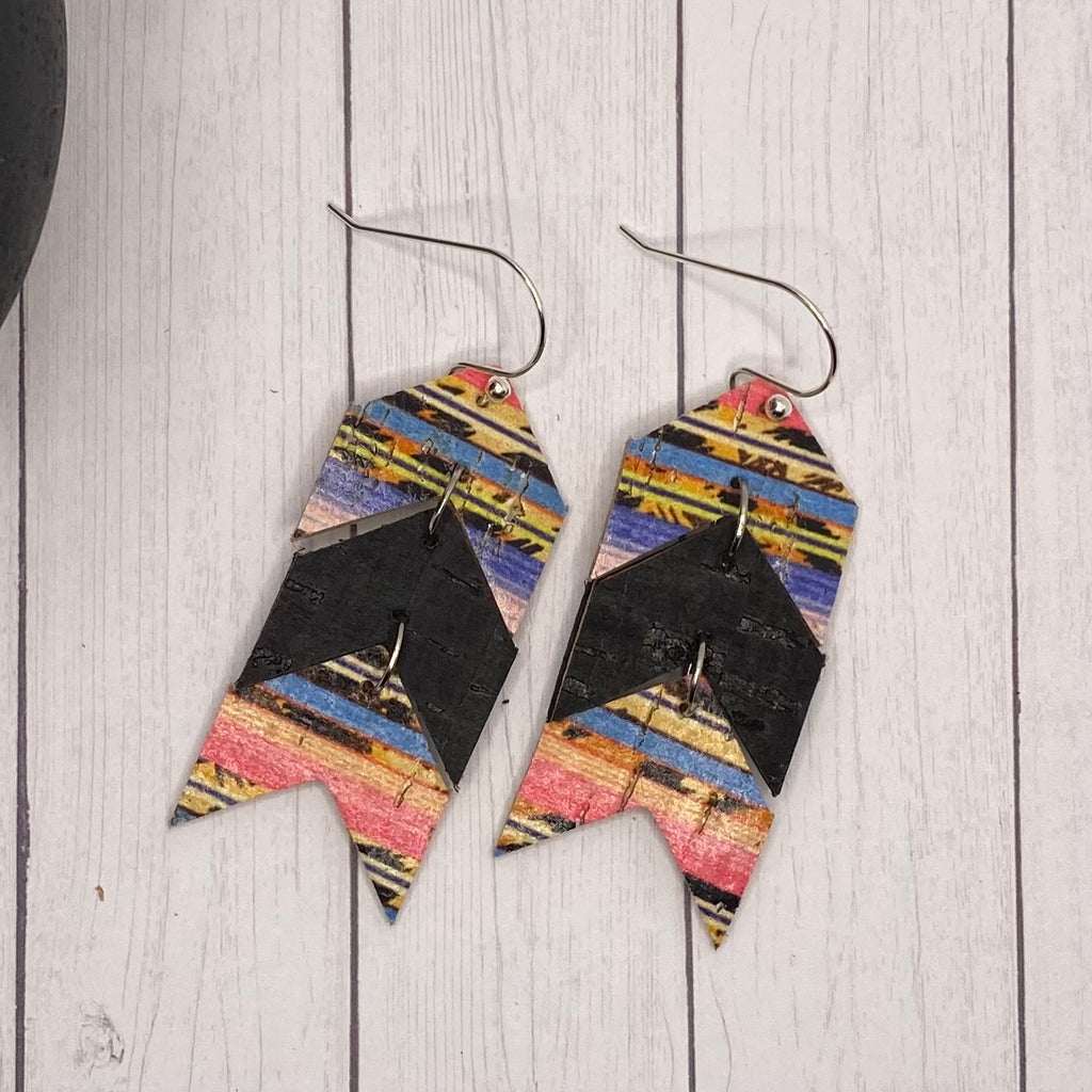 Cork on Leather Black and Leopard Serape Chevron Earrings