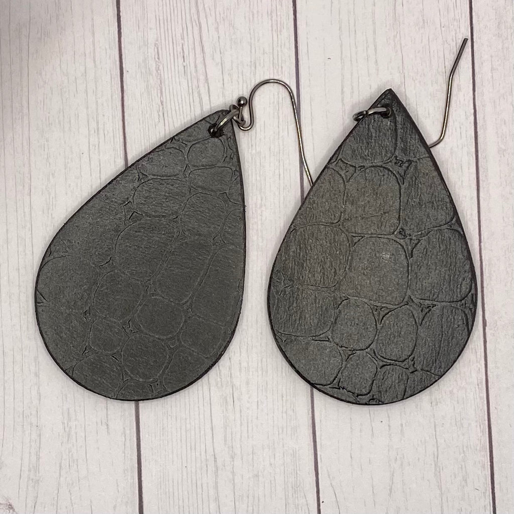 Black Embossed Wood Earrings