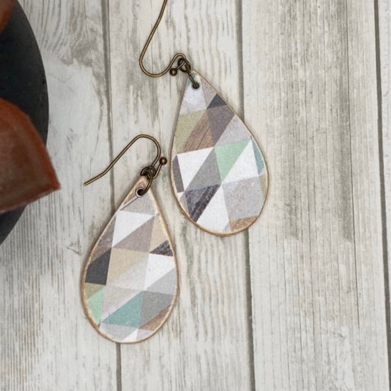 Gray Geometric Wood Earrings
