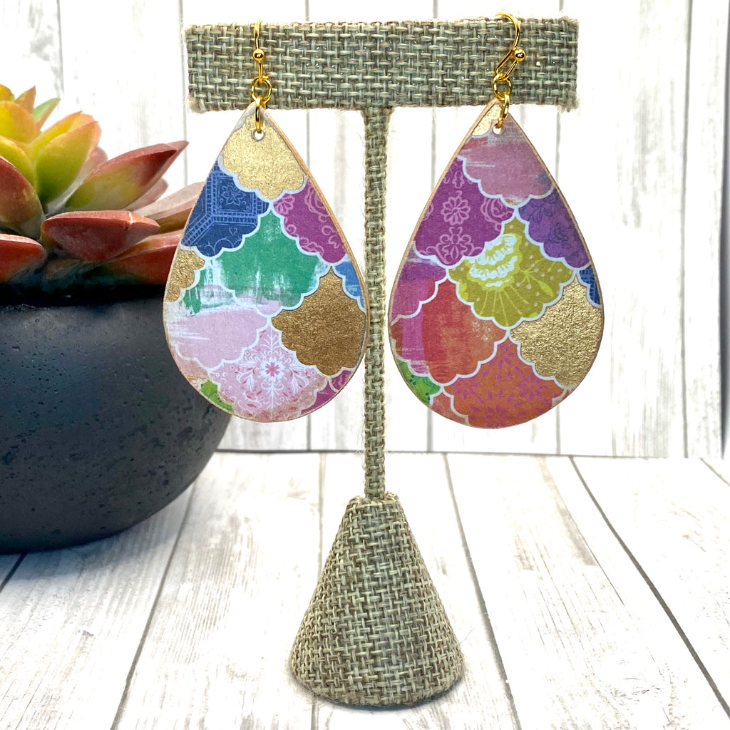 Moroccan Tile Wood Earrings