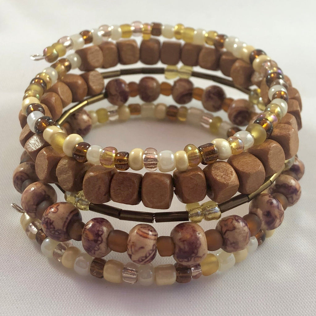 Handmade Natural Wood Bead Wrap Bracelet