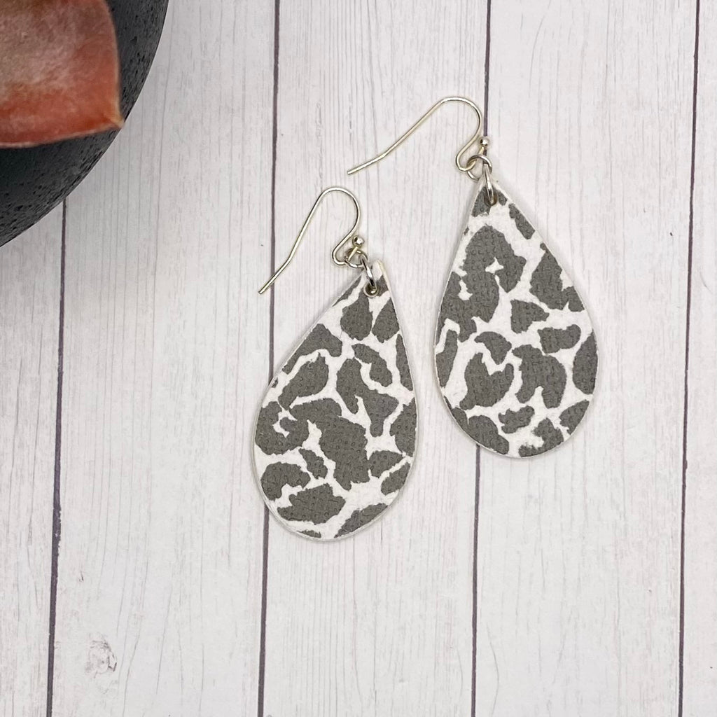 Black and White Animal Print Wood Earrings