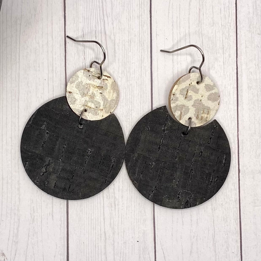Black & Gray Animal Print Leather Earrings