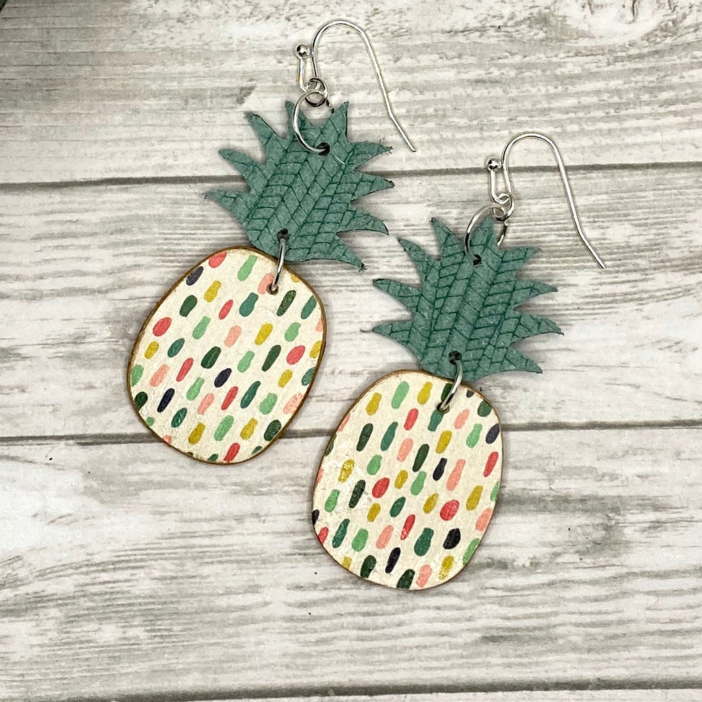 Green and Multi Color Dot Pineapple Earrings