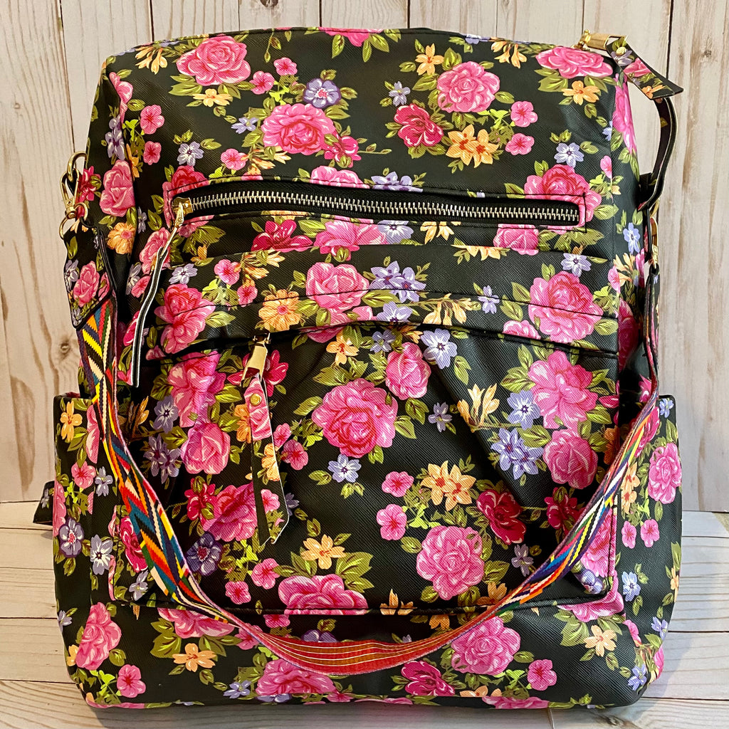 Black and Pink Floral Backpack
