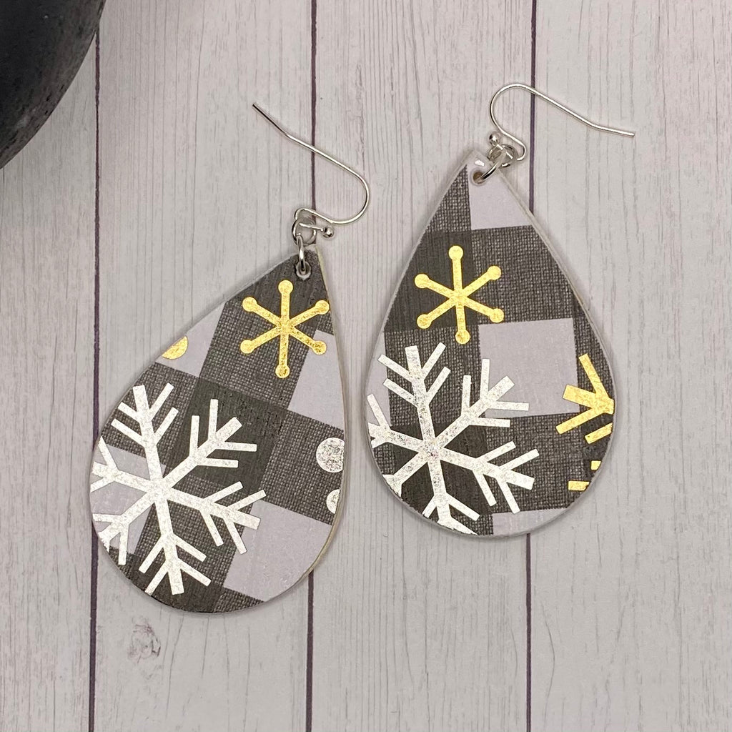 Black and White Buffalo Plaid Snowflake Wood Earrings